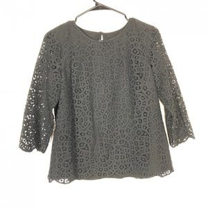 J.Crew Size 6 Black Scalloped Lace Top 3/4 Sleeve